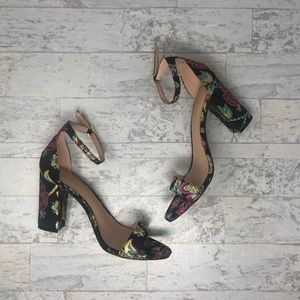 Madden Girl Embroidered Floral Ankle Strap Heels